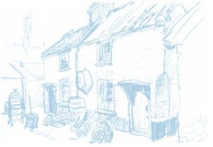 Pencil sketch of Trues Yard